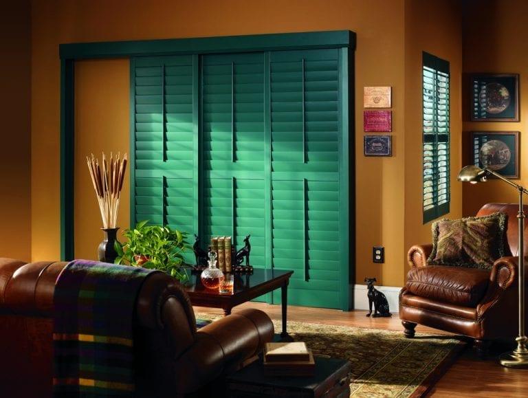 green sliding doors