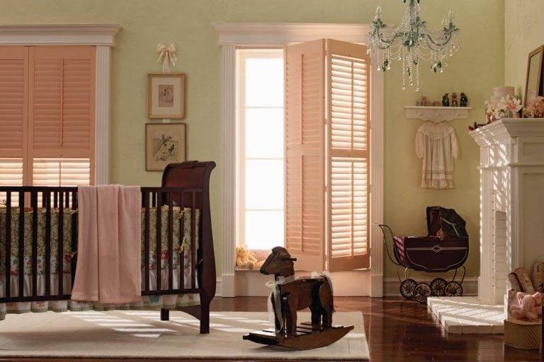 light pink shutters childs room